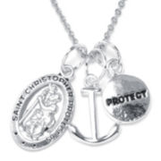 Dazzling Designs™ St. Christopher Silver-Plated Pendant Necklace