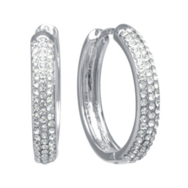 "jcpenney.com | Crystal 1.1"" Hoop Earrings"