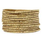 Arizona Gold-Tone Rhinestone Suede Bracelet