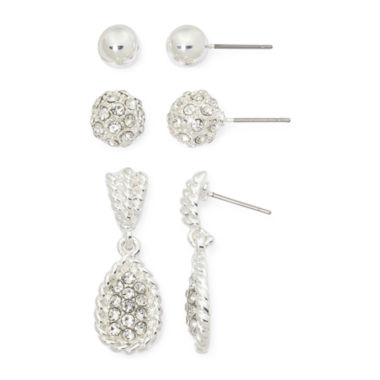 jcpenney.com | Mixit Silver-Tone 3-pr. Earring Set