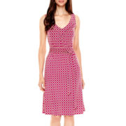 Worthington® Sleeveless Print Tie-Waist Dress