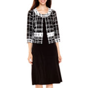 R&K Originals® 3/4-Sleeve Plaid Print Jacket Dress Set