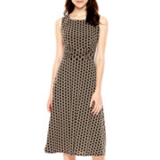 Jessica Howard Sleeveless Ruched-Waist Fit-and-Flare Dress