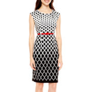 R&K Originals® Cap-Sleeve Belted Diamond Print Sheath Dress