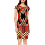 R&K Originals® Cap-Sleeve Aztec Print Shift Dress