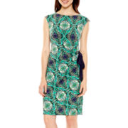 R&K Originals® Cap-Sleeve Medallion Print Side-Tie Dress