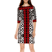 Studio 1® 3/4-Sleeve Ikat Print Shift Dress