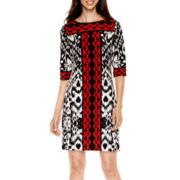 Studio 1® 3/4-Sleeve Ikat Print Shift Dress