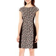 Studio 1® Cap-Sleeve Animal Print Scuba Sheath Dress