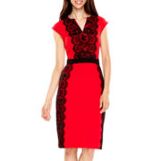 Danny & Nicole® Sleeveless Lace-Panel Sheath Dress
