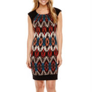 RN Studio by Ronni Nicole Sleeveless Ikat Print Panel Sheath Dress