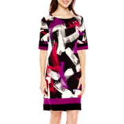 R&K Originals® 3/4-Sleeve Print Shift Dress