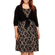 Perceptions 3/4-Sleeve Bonded Lace Jacket Dress - Plus