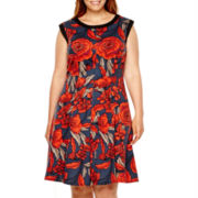 London Style Collection Sleeveless Fit-and-Flare Dress - Plus