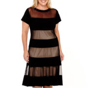 R&M Richards Cap-Sleeve Sheer Panel Fit-and-Flare Dress - Plus