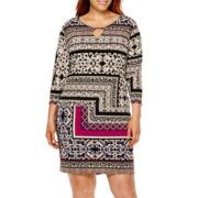 Tiana B. 3/4-Sleeve Print Sheath Dress - Plus