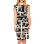 London Style Collection Cap-Sleeve Grid Print Sheath Dress - Petite