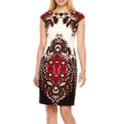 London Style Collection Sleeveless Paisley Print Sheath Dress - Petite