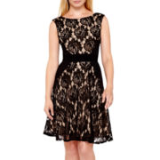 Danny & Nicole® Cap-Sleeve Lace Fit-and-Flare Dress - Petite