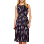Perceptions Sleeveless Dot Print Belted Fit-and-Flare Dress - Petite