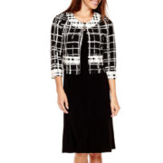 R&K Originals® 3/4-Sleeve Grid Print Jacket Dress - Petite
