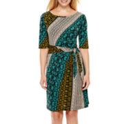 MSK 3/4-Sleeve Side-Tie Sheath Dress - Petite