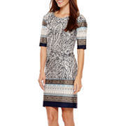 MSK Elbow-Sleeve Knit Sheath Dress - Petite