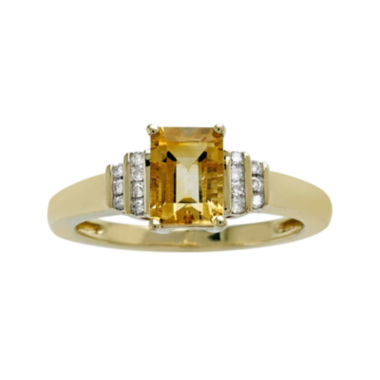 jcpenney.com | Genuine Citrine and Diamond-Accent 10K Yellow Gold Ring