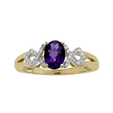 jcpenney.com | Genuine Amethyst and Diamond-Accent 10K Yellow Gold Crisscross Ring