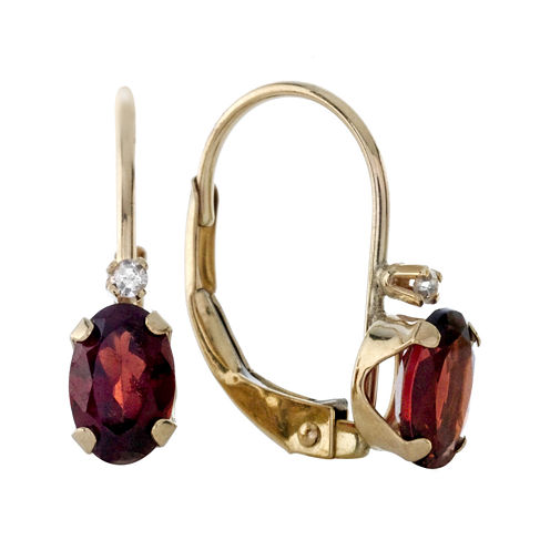 Genuine Garnet and Diamond-Accent 10K Yellow Gold Leverback Earrings