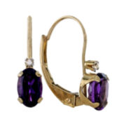 Genuine Amethyst and Diamond-Accent 10K Yellow Gold Leverback Earrings