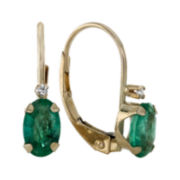 Genuine Emerald and Diamond-Accent 10K Yellow Gold Leverback Earrings