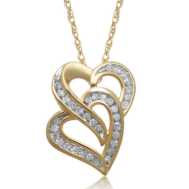 jcpenney.com | 1/8 CT. T.W. Diamond 10K Yellow Gold Double Heart Pendant Necklace