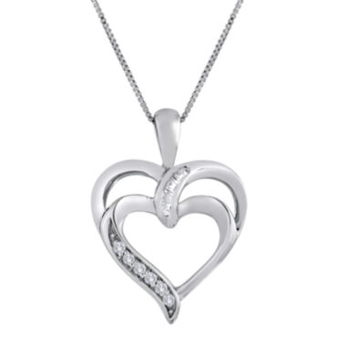 jcpenney.com | Diamond-Accent 10K White Gold Double Heart Pendant Necklace