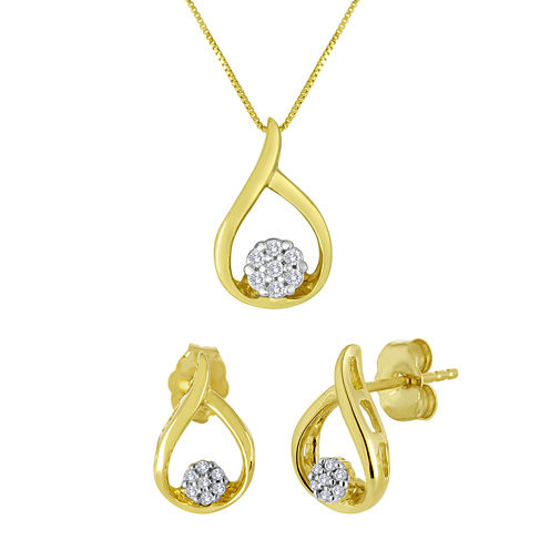 1/10 CT. T.W. Diamond 10K Yellow Gold Earrings and Pendant Necklace Set