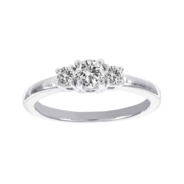 jcpenney.com | Lumastar 1/2 CT. T.W. Diamond 14K White Gold Three-Stone Ring