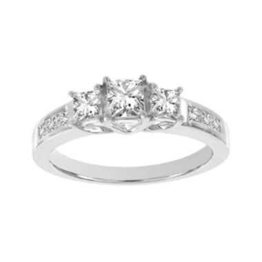 jcpenney.com | Lumastar 1 CT. T.W. Princess-Cut Diamond 14K White Gold Three-Stone Ring