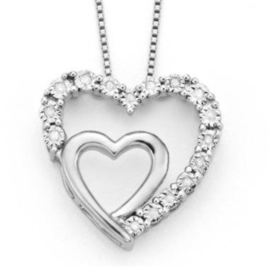 jcpenney.com | 1/10 CT. T.W. Diamond Sterling Silver Double-Heart Pendant Necklace