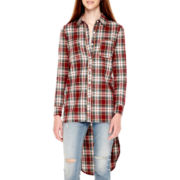 Say What Long-Sleeve Plaid Tunic