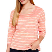 Arizona Long-Sleeve Lace-Yoke T-Shirt - Plus