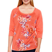 Arizona Raglan-Sleeve Floral Baseball T-Shirt - Plus