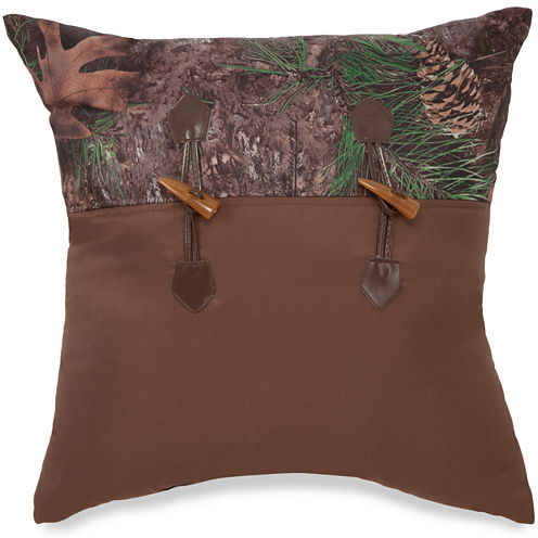 """True Timber Mixed Pine 18"""" Square Decorative Pillow"""