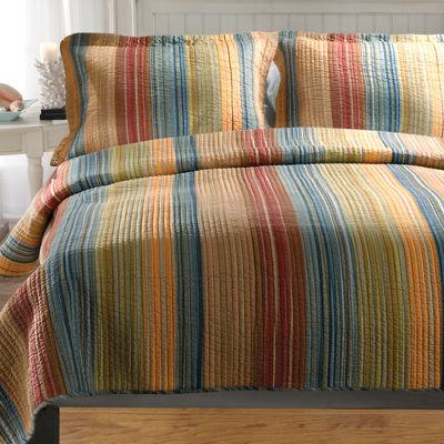 Greenland Home Fashions Katy Stripe Quilt Set