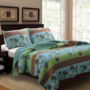 Greenland Home Fashions Mara Floral Quilt Set
