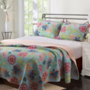 Greenland Home Fashions Mystic Floral Quilt Set