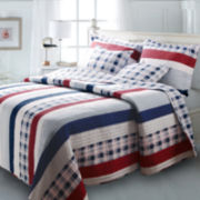 Greenland Home Fashions Nautical Stripe Coastal Quilt Set