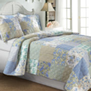 Greenland Home Fashions Vintage Jade Patchwork Quilt Set