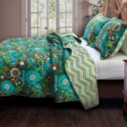 Tiki Hut Floral Quilt Set