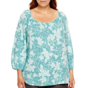 St. John's Bay® 3/4-Sleeve Popover Peasant Top - Plus