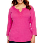 St. John's Bay® 3/4-Sleeve Notch-Neck Knit Top - Plus